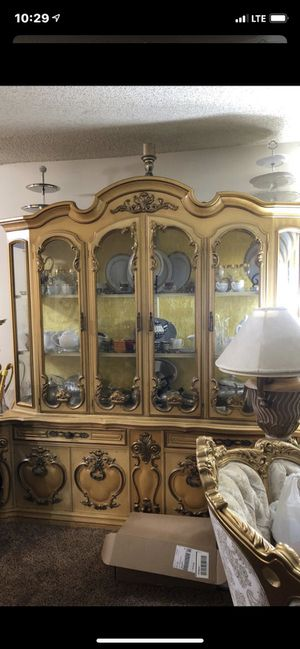 Stunning antique Italian style gold rococo China buffet and Hutch for Sale in Brea, CA