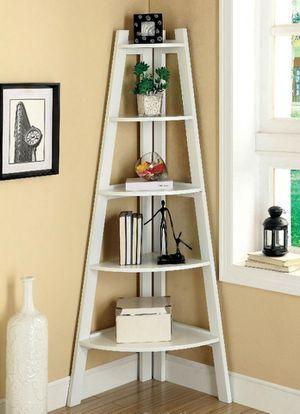 5-shelf Ladder Bookcase with Open Storage in White Finish for Sale in Pomona, CA