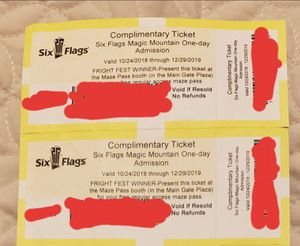 Magic Mountain tics (2) for Sale in Fresno, CA