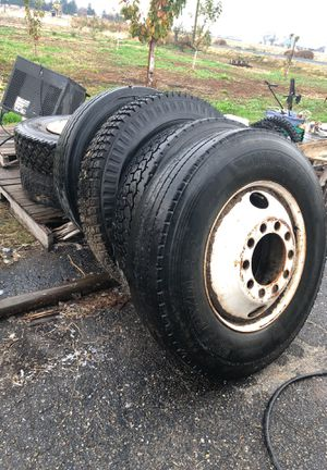 24.5 rims and tires wheels freight liner 10 lug hole 6 total trade for 15 trailer tires for Sale in Tracy, CA