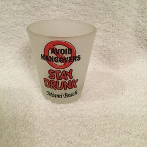 Miami Beach Frosted Mini Shot Glass Avoid Hangovers Stay Drunk. for Sale in Clermont, FL