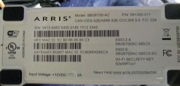 Arris SBG6700-AC Cable Modem & Router