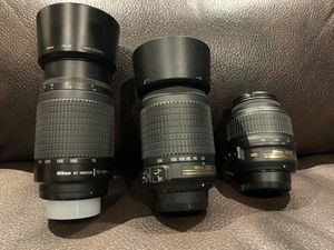 Nikon lenses 18-55mm, 55-200mm and 70-300mm for Sale in Chicago, IL