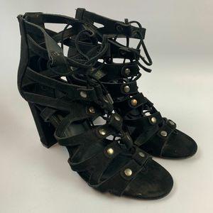 Olivia Ferguson 10 US Women High Heels Chunky Gladiator Black Open Toe Suede Lace Up/Zipper Solid for Sale in Edinburg, TX