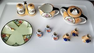 Vintage Noritake Salt & Pepper Shaker Set, creamer, sugar, 6 napkin holders, and sauce plate. All Hand Painted, Made in Japan, Excellent condition. for Sale in Marysville, WA