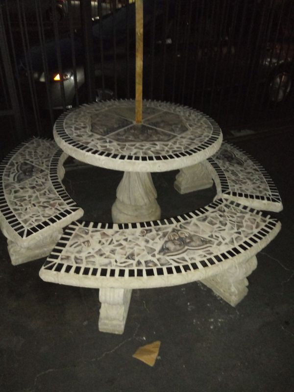 Beautiful Tile table with 3 benches