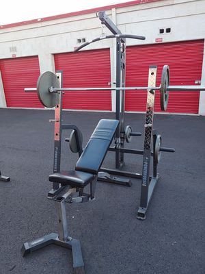 Squat rack, bench press, cables, bars, weights for Sale in Phoenix, AZ
