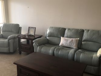 """BOTH-Leather Power Recliner And Matching Reclining Chair """"Seafoam Green"""" for Sale in Leander,  TX"""