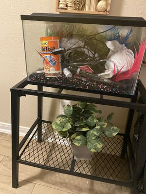 Fish tank With decorations and filter for Sale in Houston, TX