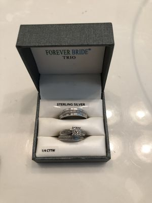 Sterling silver, Diamond Trio Wedding Ring Set for Sale in North Chesterfield, VA