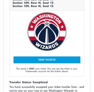 Wizards Tickets for Sale in Ranson, WV