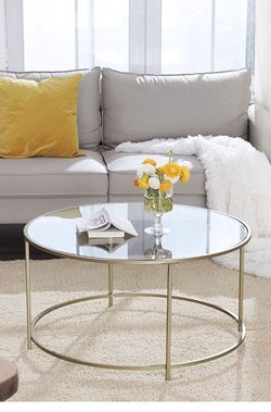 Round Coffee Table, Glass Table with Golden Steel Frame, Living Room Table, Sofa Table, Robust Tempered Glass, Stable, Decorative, Gold ULGT21G for Sale in Fontana,  CA