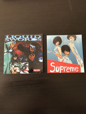 Supreme Liquid Swords and Supremes Stickers   BRAND NEW   FW18 Week 4 for 183bd1645ac5