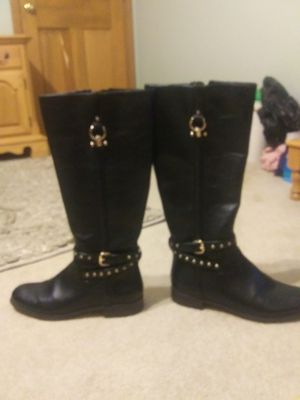 Womens COACH black leather knee boots for Sale in Clarence Center, NY