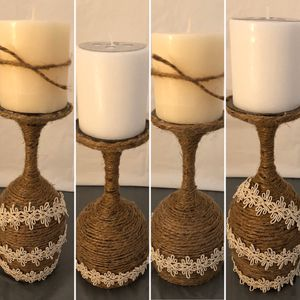 Twine Wrapped Wine Glass Candle Holder for Sale in Bluffdale, UT