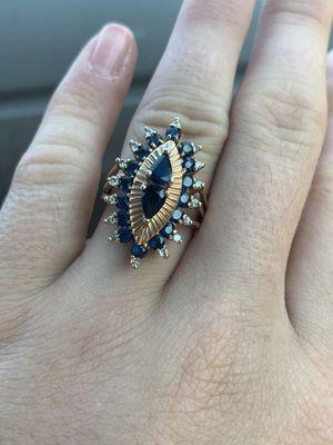 14k nice design diamond and sapphire ring for Sale in Oak Lawn, IL