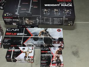 🔥NEW Olympic Weight Set- Bar & Plate & Rack🔥 for Sale in Fontana, CA