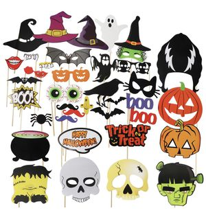 Halloween Photo Booth Props 38pcs DIY Photo Props Hats Lips Bats Terror Skull Masks On a Stick for Happy Halloween Party for Sale in Paramount, CA