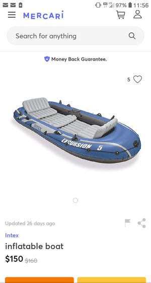 Intex Excursion 5 inflatable boat with outboard motor mount for Sale in Phoenix, AZ