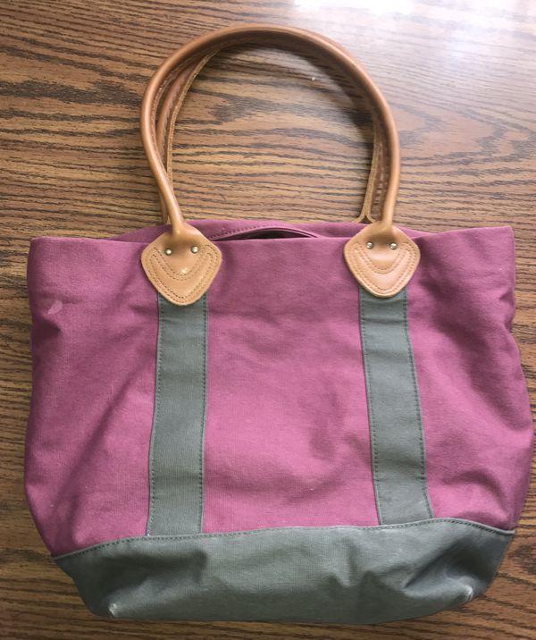 L.L. Bean Canvas Bag Purple Burgundy Leather