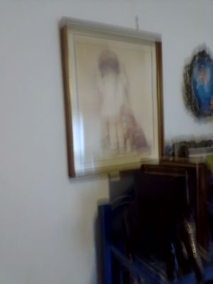Framed print of little lonely girl in a corner with dog for Sale in Tulsa, OK