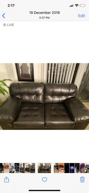 Leather sofa , dark brown for Sale in Fairfax, VA