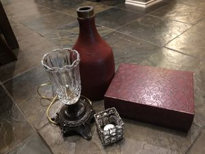4 decorative home decor items lamp vase candle & more for Sale in Lake Dallas, TX