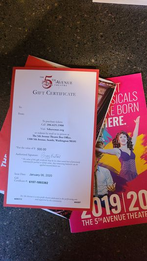 $500 gift certificate to 5th Avenue Theater for Sale in Monroe, WA