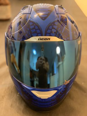 Icon Motorcycle helmet with custom blue mirror visor for Sale in Delray Beach, FL