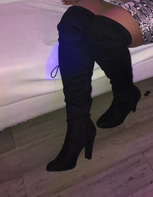 Thigh high black heel boots for Sale in Laurel, MD