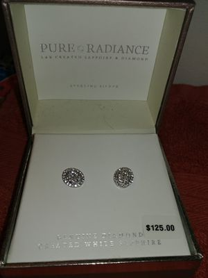 Diamond accent lab created white sapphire earrings never worn for Sale in Hebron, OH