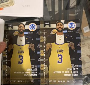 Lakers First Game TIckets SECTION 107 ROW 14 Lakers Tickets Game 1 At Home Lakers vs Utah Lakers vs Jazz LAKERS FIRST HOME GAME for Sale in Beverly Hills, CA