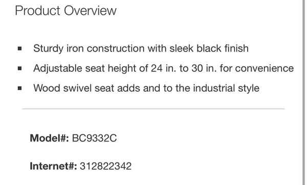 Hamrick Industrial Adjustable Height Backless Bar Stool - Set of 2
