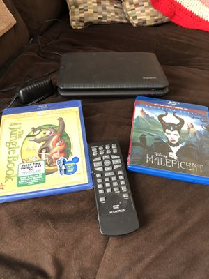 DVD player with (2) Blu-Ray DVD's (Jungle Book n Maleficent) for Sale in Rosemead, CA