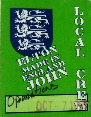 Elton John (Made in England) Backstage pass for Sale in Waterford Township, MI