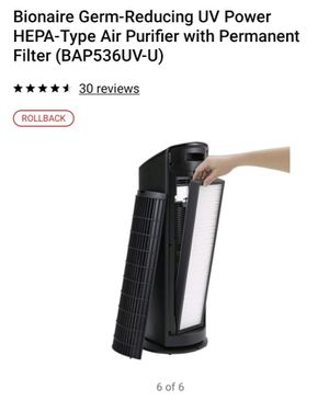 Bionare Germ-Reducing UV power HEPA - Type Air purifier with permanent filter for Sale in Bakersfield, CA