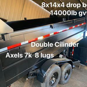 Dump trailer 8x14x4 14000lb drop board $8500 cash not finance for Sale in Chino, CA