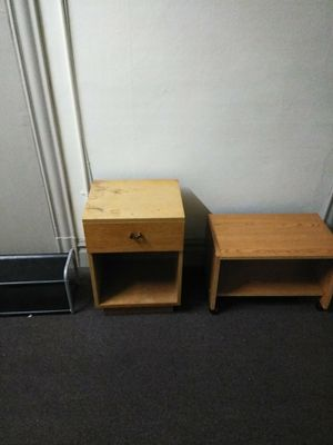 1 wood Night Stand, 1 TV roll TV Stand, and 1 IKEA shoe rack for Sale in Seattle, WA