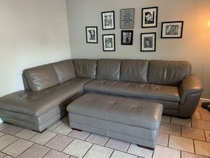 Large full leather sectional couch with ottoman. for Sale in Mount Laurel Township, NJ