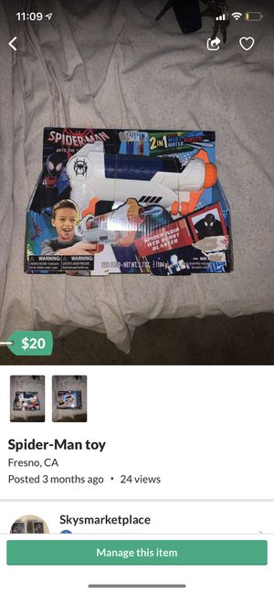 Spider man spider web toy for Sale in Fresno, CA