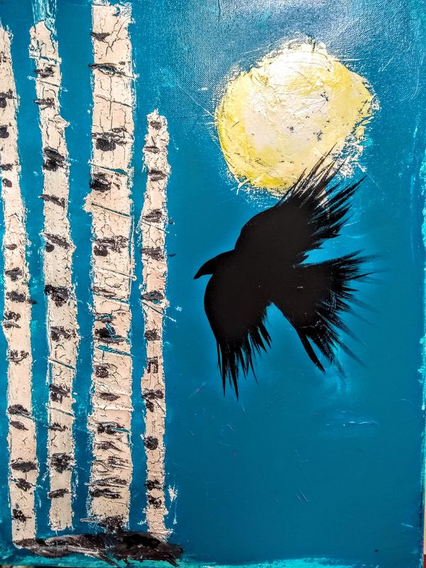 A murder of Crows in The birches