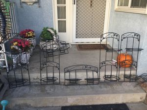 SET OF SIX ABSOLUTELY GORGEOUS WROUGHT IRON WALL GARDEN PLANT POT DECORATIVE HANGERS!!!! SHABBY CHIC, VINTAGE, SCROLL! IN DOWNEY! for Sale in Lynwood, CA