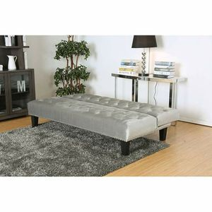 GRAY FLANNELETTE FABRIC GLAM FUTON SOFA ADJUSTABLE BED for Sale in Menifee, CA