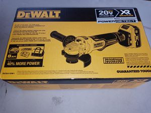 $220. New. DEWALT XR POWER DETECT 4.5-in 20-Volt Max Paddle Switch Angle Grinder (Charger and 1-8ah Battery) DCG415W1 for Sale in Morrow, GA