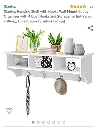 Giantex Hanging Shelf with Hooks Wall Mount Cubby Organizer with 4 Dual Hooks and Storage for Entryway, Hallway, Diningroom Furniture (White) for Sale in Apex, NC
