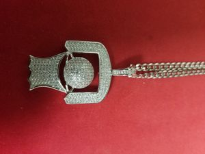 14k white gold over 925 stamped sterling silver made in Italy basketball pendant with chain for Sale in Brooklyn, NY