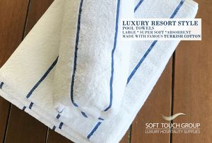 SOFT TOUCH LINEN® POOL TOWEL BLUE PINSTRIPE for Sale in Temecula, CA