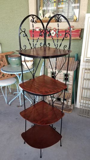 Vintage wrought iron corner shelf plant stand for Sale in Peoria, AZ
