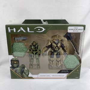 Halo Infinite Master Chief & Brute Chieftain 4 Inch Figures World Of Halo Scale for Sale in Peoria, IL
