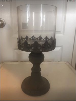 Decorative Shabby Chic Brown Glass Metal Candleholder - NEW IN BOX for Sale in New Port Richey, FL